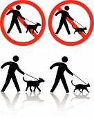 Persons walk pet dog cat. Icons: PETS ALLOWED on leashes; or NO DOGS CATS. Or PET CROSSING. poster