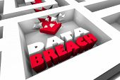Data Breach Security Hack Breaking Through 3d Illustration poster