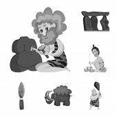 Isolated object of survival   and history  icon. Collection of survival   and prehistory vector icon for stock. poster