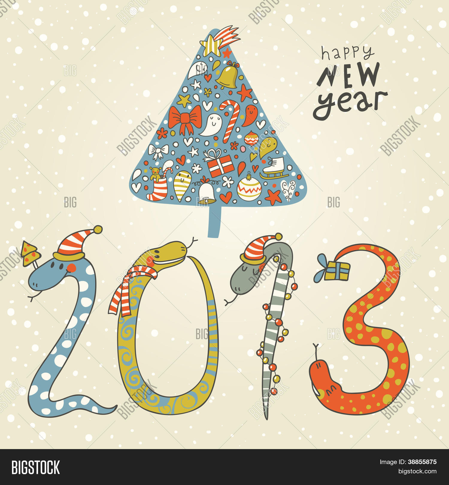 2013 year of the snake cute new year background with a snake concept