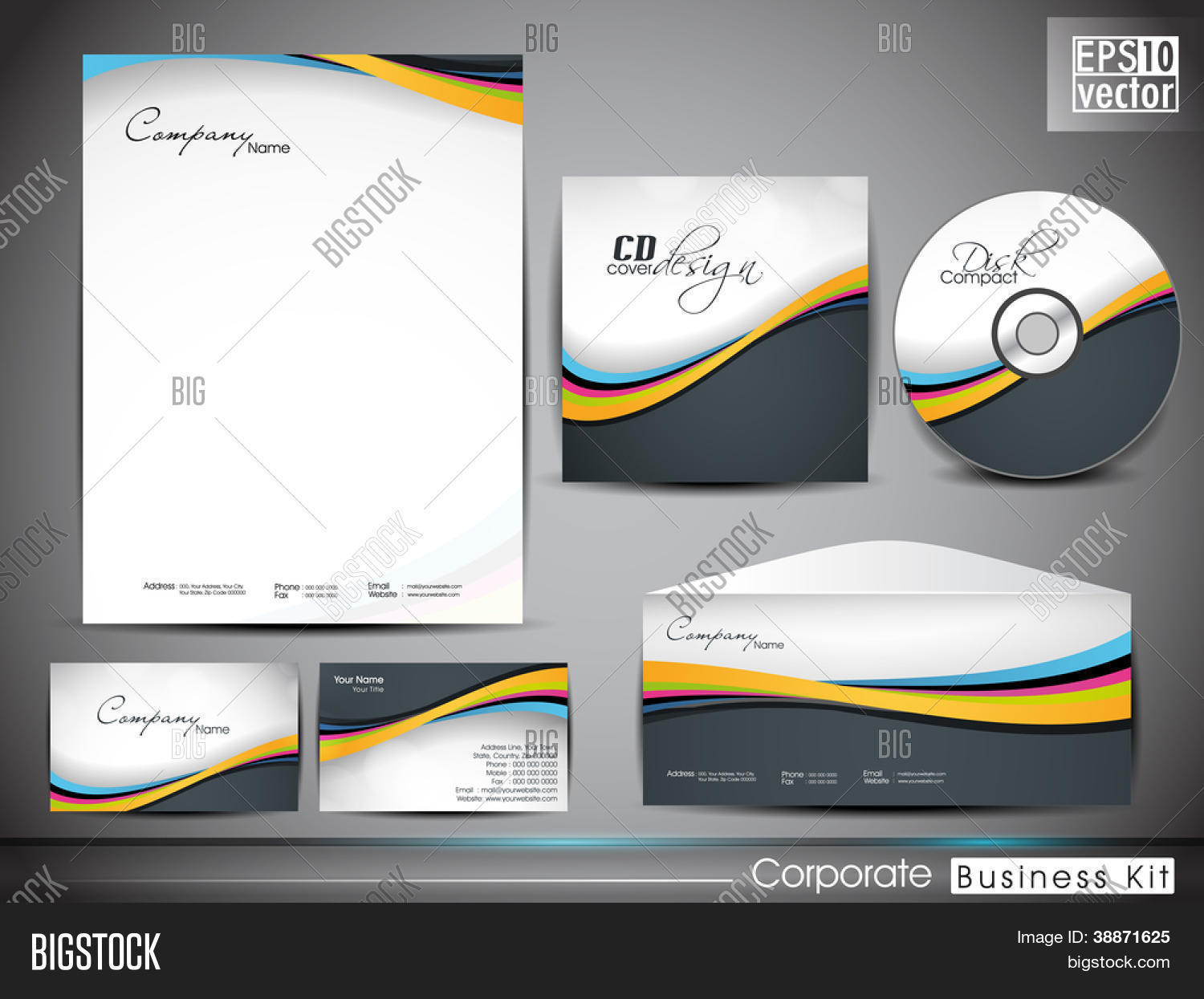 Professional vector photo free trial bigstock professional corporate identity kit or business kit with wave pattern for your business includes cd cover reheart Choice Image