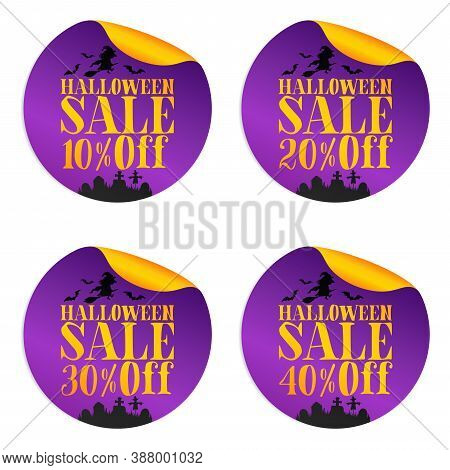 Halloween Violet Sale Stickers Set With Witch 10%, 20%, 30%, 40% Off. Vector Illustration