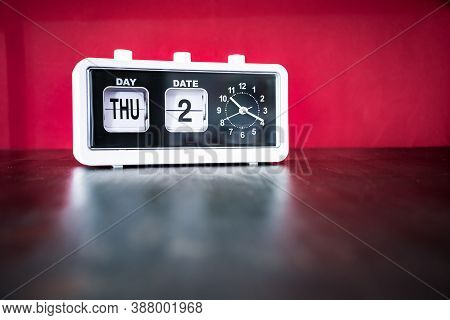 Thursday 2nd, Second Thursday Of The Month - White Vintage Alarm Clock With Set Date And Time