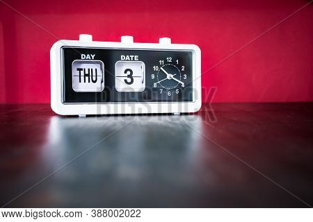 Thursday 3rd, Third Thursday Of The Month - White Vintage Alarm Clock With Set Date And Time
