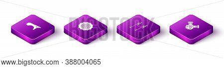 Set Isometric Car Fender, Wheel, Windscreen Wiper And Engine Icon. Vector