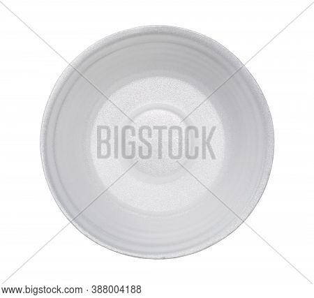 Styrofoam Bowl Top View (with Clipping Path) Isolated On White Background