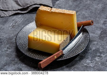 Cheese Collection, French Hard Comte Cheese Made From Cow Milk In Region Franche-comte, France