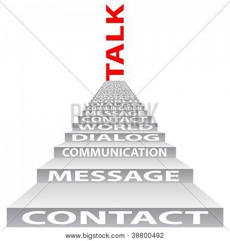 High resolution concept or conceptual red text on stair isolated on white background as metaphor for communication,speech,message,mail,relation,dialog,talk,report,contact,stair,climb,email or internet