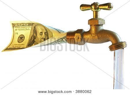 Faucet, Processing Dollars In Water