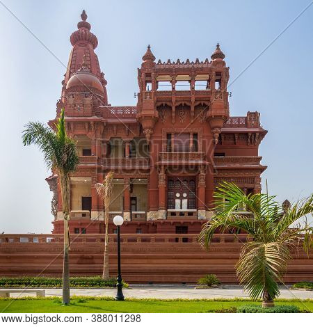 Front View Of Rear Facade Of Baron Empain Palace, A Historic Mansion Inspired By The Cambodian Hindu