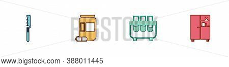 Set Medical Saw, Medicine Bottle And Pills, Test Tube Flask And Cabinet Icon. Vector