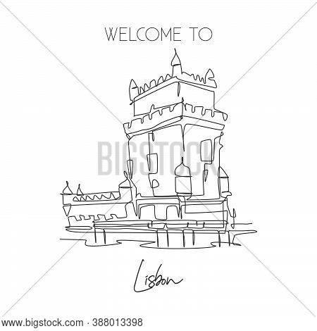 Single Continuous Line Drawing Belem Tower Landmark. Famous Place In Lisbon, Portugal. World Travel