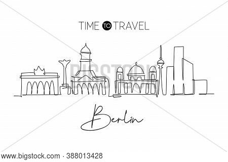 Single Continuous Line Drawing Of Berlin City Skyline. Famous City Skyscraper Landscape. World Trave