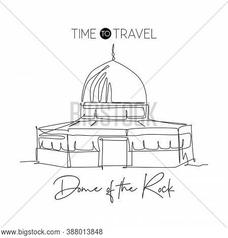 One Continuous Line Drawing Dome Of The Rock Mosque Landmark. Holy Place At Jerusalem. Holiday Relig