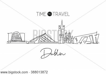 Single Continuous Line Drawing Of Dublin City Skyline, Republic Of Ireland. Famous Landscape. World