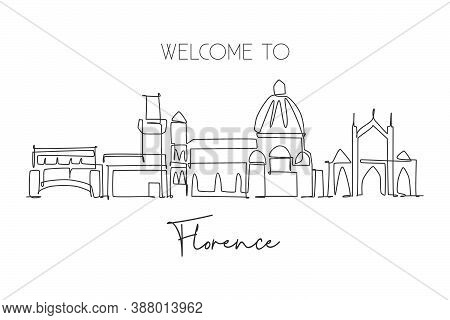 One Single Line Drawing Of Florence City Skyline, Italy. Historical Skyscraper Landscape In World. B