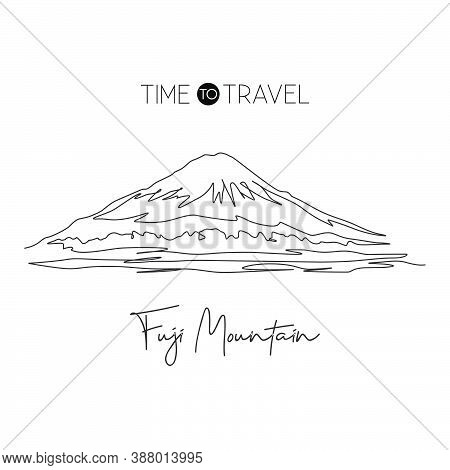 One Single Line Drawing Beautiful Mt. Fuji San Landmark. World Place In Honshu Japan. Tourism Travel