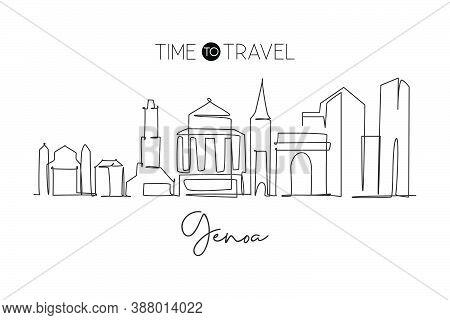One Single Line Drawing Of Genoa City Skyline, Italy. Historical Skyscraper Landscape In World. Best