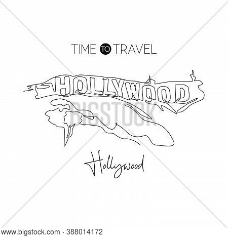 Depok, Indonesia - August 2, 2019: One Continuous Line Drawing Of Hollywood Sign Landmark. World Ico