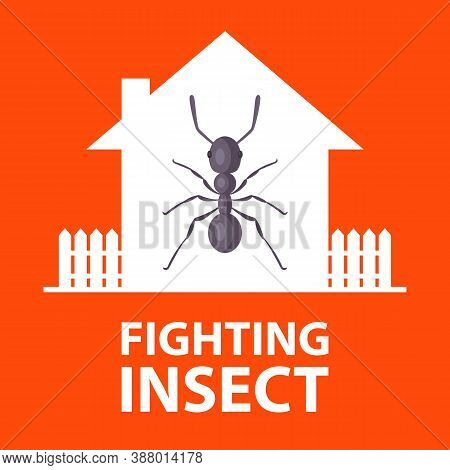 Termites Started In A Private House. Destroy Dangerous Insects. Flat Vector Illustration Of Ant.