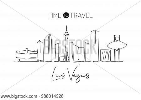 One Single Line Drawing Las Vegas City Skyline, United States. Historical Landscape. Best Holiday De