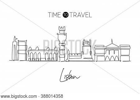 Single Continuous Line Drawing Of Lisbon City Skyline, Portugal. Famous City Scraper Landscape. Worl
