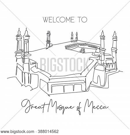 One Continuous Line Drawing Great Mosque Of Masjid Al Haram Landmark. Famous Place In Mecca, Saudi A
