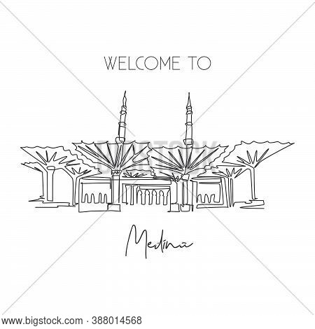 One Single Line Drawing Masjid Al Nabawi Landmark. Famous Holy Iconic In Medina Saudi Arab. Hajj Umr