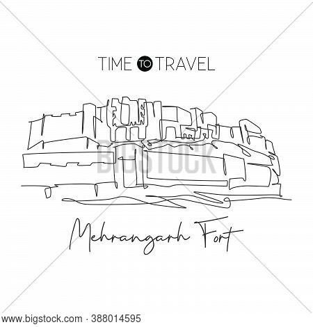 One Single Line Drawing Mehrangarh Fort Landmark. Famous Historic Place In Jodhpur India. Tourism Tr