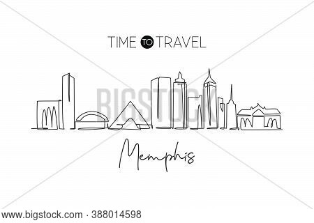 One Single Line Drawing Of Memphis City Skyline, Tennessee. Historical Town Landscape. Best Holiday