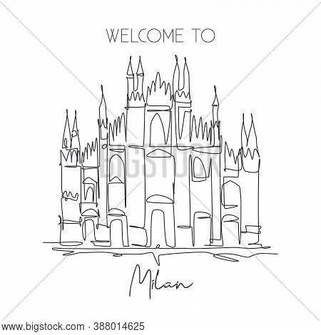 One Single Line Drawing Duomo Di Milano Landmark. World Famous Place In Milan, Italy. Tourism Travel