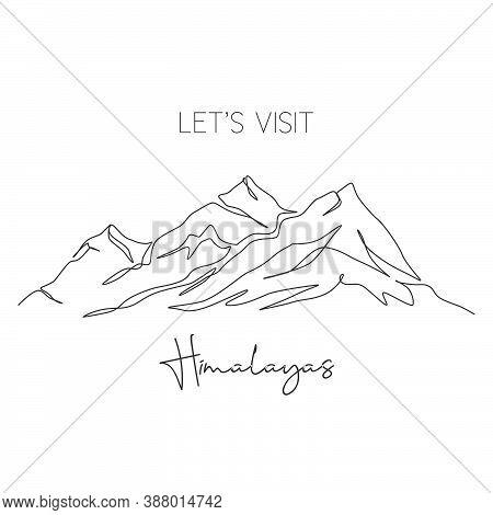 One Continuous Line Drawing Himalaya Mount Everest Landmark. World Iconic Place In Nepal Tibet. Holi