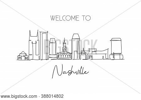 Single Continuous Line Drawing Of Nashville City Skyline, Tennessee. Famous City Scraper Landscape.