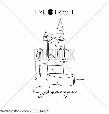 One Continuous Line Drawing Neuschwanstein Castle Landmark. Bavarian Palace In Hohenschwangau German