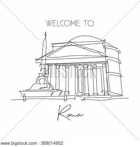 One Single Line Drawing Pantheon Landmark. Iconic Ancient Temple In Rome Italy. Tourism Travel Postc