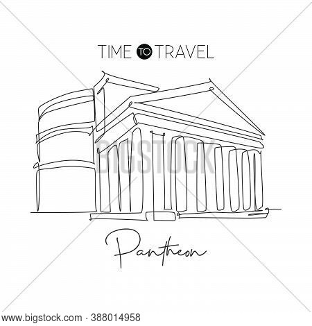 One Continuous Line Drawing Ancient Roman Building Pantheon Landmark. Pantheum Temple In Rome, Italy