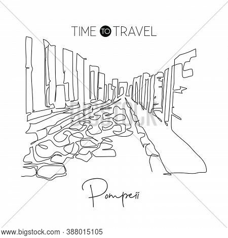Single Continuous Line Drawing Pompeii Ancient Roman City Landmark. Historic Beautiful Place In Napl