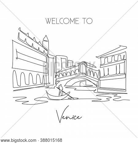 One Single Line Drawing Rialto Bridge Landmark. World Famous Iconic Canal In Venice Italy. Tourism T