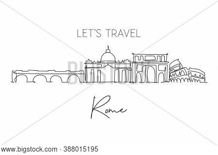 Single Continuous Line Drawing Of Rome City Skyline Italy. Famous Roma City Skyscraper Landscape. Wo