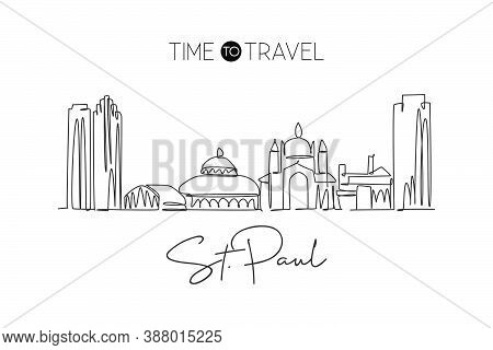 One Continuous Line Drawing Saint Paul City Skyline, Minnesota. Beautiful Landmark. World Landscape
