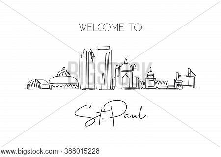 Single Continuous Line Drawing Saint Paul City Skyline, Minnesota. Famous City Scraper Landscape. Wo