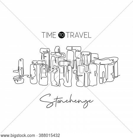 One Continuous Line Drawing Stonehenge Site Landmark. World Iconic Place In Wiltshire England. Holid