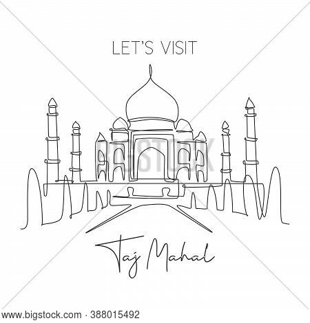 One Single Line Drawing Taj Mahal Mosque Landmark. World Iconic Place In Agra, India. Tourism Travel