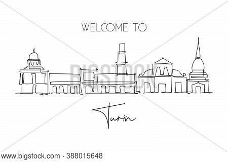 One Continuous Line Drawing Of Turin City Skyline, Italy. Beautiful Skyscraper. World Landscape Tour