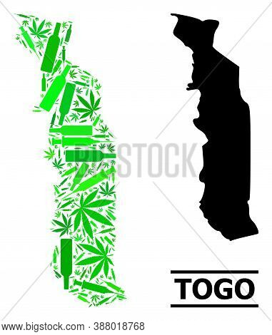 Addiction Mosaic And Usual Map Of Togo. Vector Map Of Togo Is Organized With Randomized Vaccine Symb