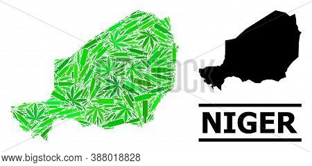 Drugs Mosaic And Solid Map Of Niger. Vector Map Of Niger Is Shaped From Random Inoculation Icons, We