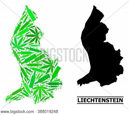 Addiction Mosaic And Solid Map Of Liechtenstein. Vector Map Of Liechtenstein Is Done With Random Vac