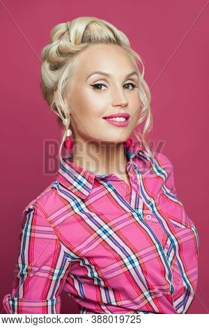 Smiling Pin-up Woman Mith Makeup And Blonde Hairstyle