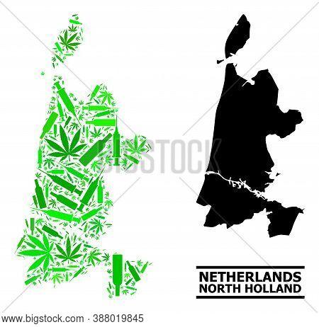 Addiction Mosaic And Solid Map Of North Holland. Vector Map Of North Holland Is Constructed From Ran