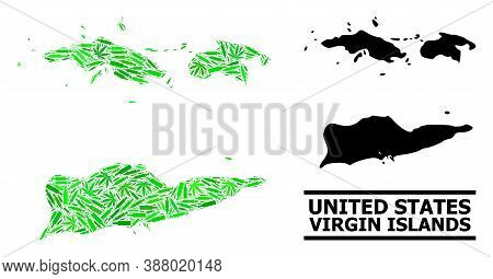 Addiction Mosaic And Solid Map Of American Virgin Islands. Vector Map Of American Virgin Islands Is